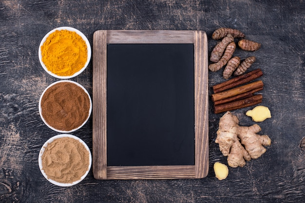 Powder of turmeric, cinnamon and ginger background