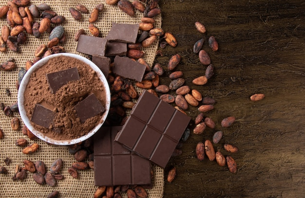 Powdered cocoa with pieces of chocolate on raw cocoa beans.