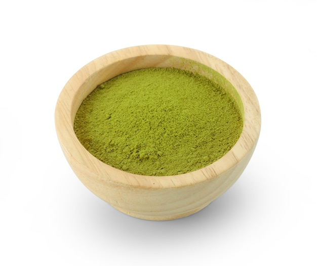 Powdered matcha green tea in bowl, isolated on white background
