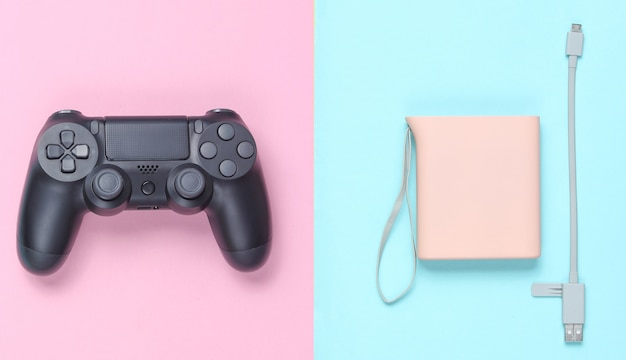 Power bank and usb cable, gamepad isolated