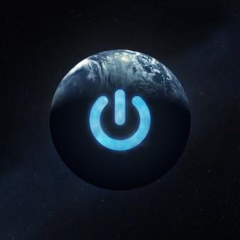 우주 공간에서 지구 행성의 전원 버튼.