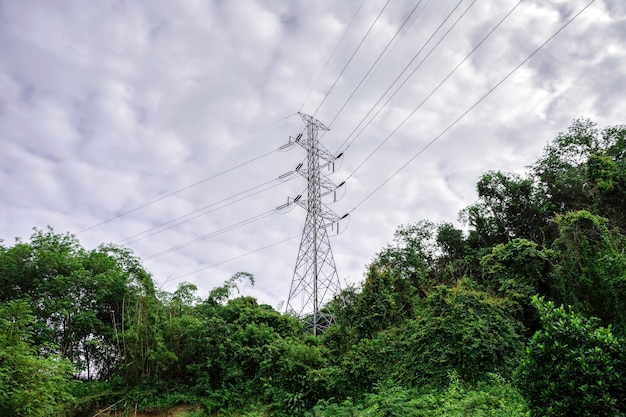 농촌 지역 사회 및 시골에 대한 배전 철탑 시스템, 녹색 자연이 있는 풍경 산, 환경 개념에 친화적인 에너지