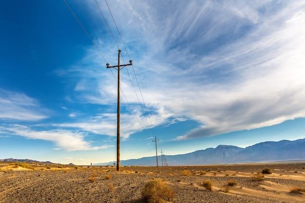 Power lines in desert valley.