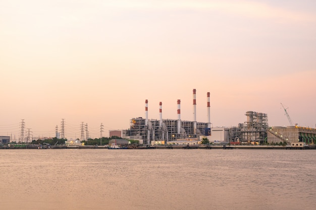 Power plant during the evening