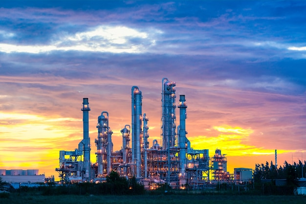 Power plant gas or oil for industry at twilight