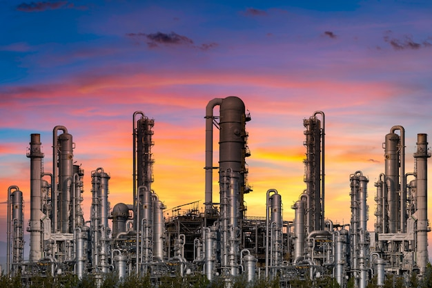 Power plant for industrial at twilight