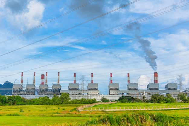 Power plant working with sulfer smoke at mae moh steam power station lampang thailand