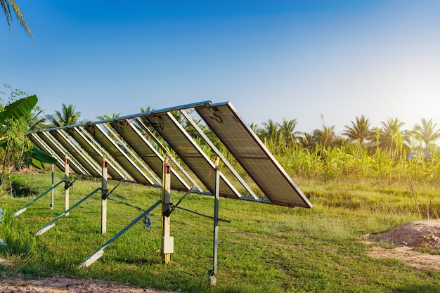 Power solar panel for agriculture in a rural houses area agricultural fields blue sky background,agro-industry of household rural style in thailand, smart farm alternative clean green energy concept