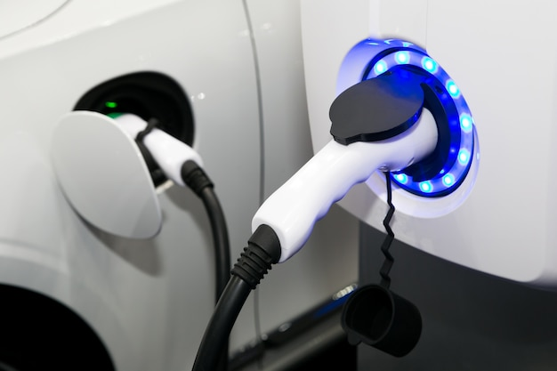 Power supply for electric car charging. close up of the power supply plugged