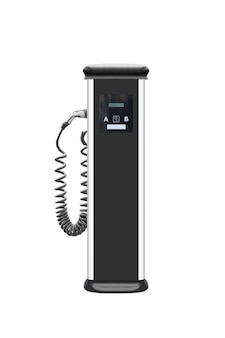 Power supply for electric car charging. electric car charging station. close up. with clipping path.