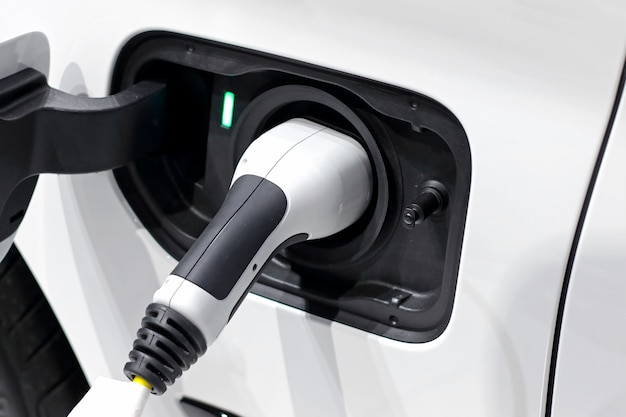 Power supply plugged for electric car charging