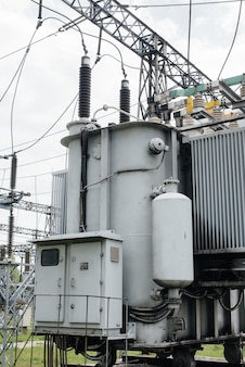 Power transformer at the electrical substation. power engineering. industry.