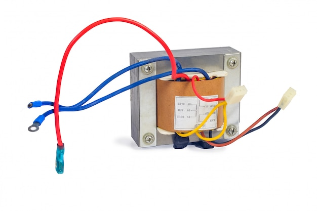 Power transformers for supplying electronic on white.