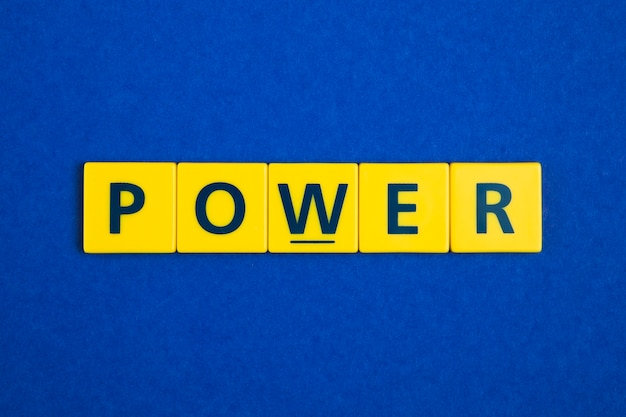 Power word on yellow tiles