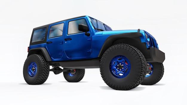 흰색 배경에 원정대 3d 일러스트레이션을 위한 강력한 파란색 튜닝 suv
