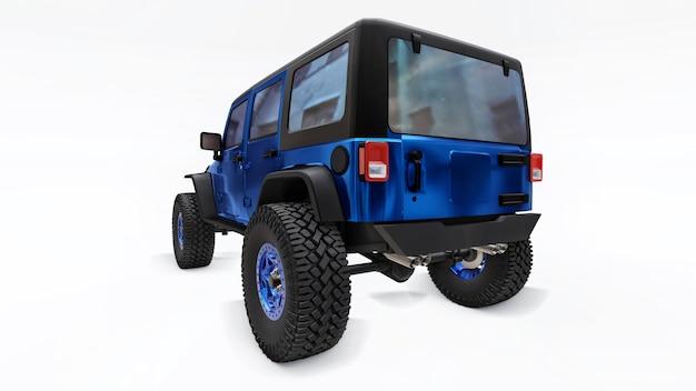 산, 늪, 사막 및 흰색의 거친 지형 탐험을 위한 강력한 파란색 튜닝 suv. 큰 바퀴, 가파른 장애물을 위한 리프트 서스펜션. 흰색 배경에 3d 그림입니다. 3d 렌더링.