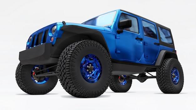 Мощный синий тюнингованный внедорожник для экспедиций в горы, болота, пустыню и любой пересеченной местности на белом. большие колеса, подъемная подвеска для крутых препятствий. 3d иллюстрации на белом фоне
