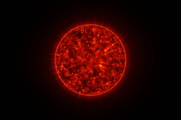 Powerful burning sun solar system in space on back background 3d rendering