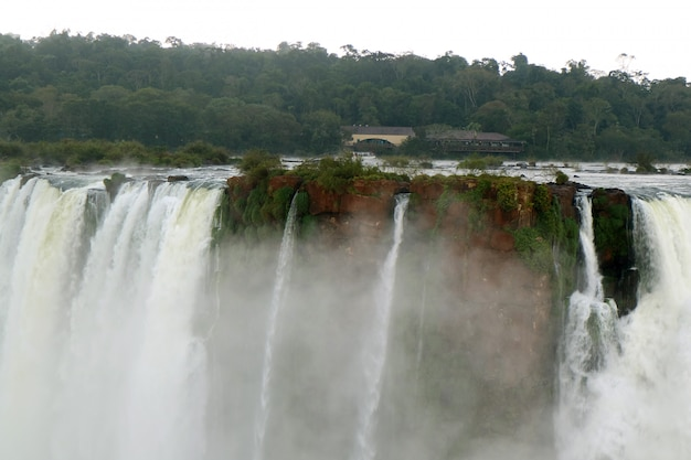 The powerful devil's throat of iguazu falls at argentinian side, misiones province, argentina