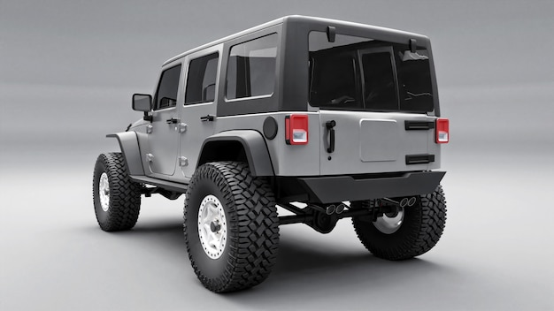 Powerful gray tuned suv for expeditions in mountains, swamps, desert and any rough terrain
