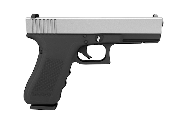白い背景の上の強力な金属警察または軍のピストル銃。 3dレンダリング