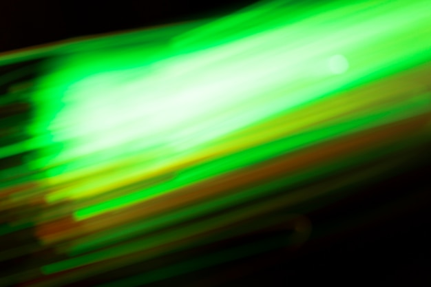 Powerful movement of green lights