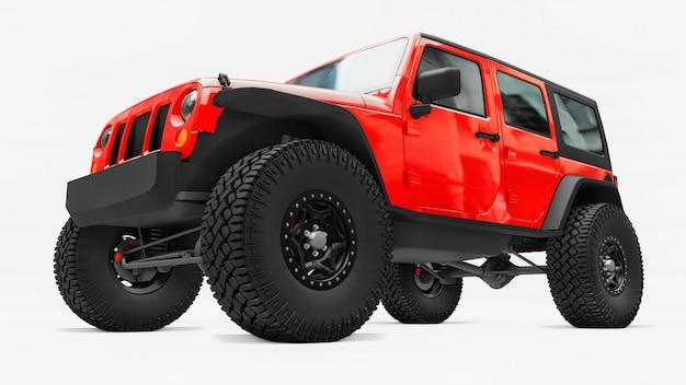 Мощный красный тюнингованный внедорожник для экспедиций в горы, болота, пустыню и любую пересеченную местность. большие колеса, подъемная подвеска для крутых препятствий