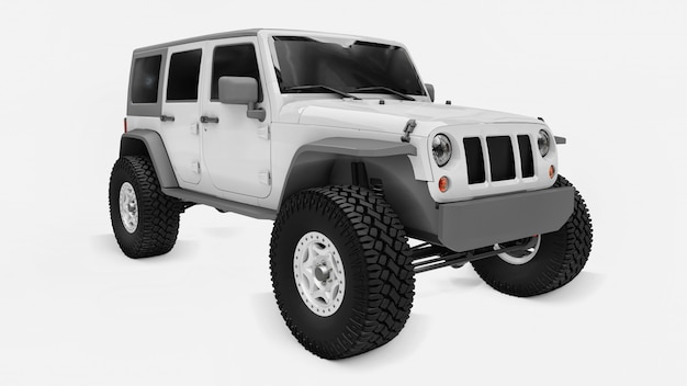 Powerful white tuned suv for expeditions in mountains, swamps, desert and any rough terrain on white. big wheels, lift suspension for steep obstacles. 3d illustration on white background. 3d rendering
