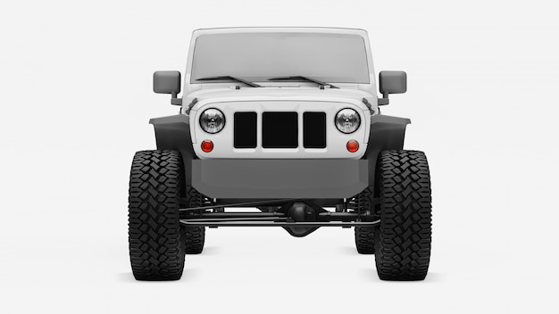 Powerful white tuned suv for expeditions in mountains, swamps, desert and any rough terrain on white.