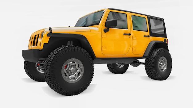 산, 늪, 사막 및 모든 거친 지형에서의 탐험을 위한 강력한 노란색 튜닝 suv. 큰 바퀴, 가파른 장애물을 위한 리프트 서스펜션. 3d 렌더링.