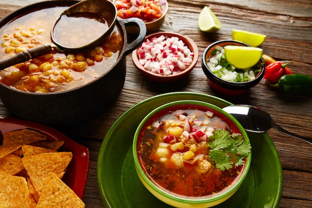 Pozole with mote big corn stew from mexico
