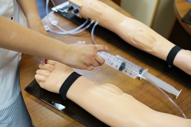 医学の実践的なレッスン。ワークショップ医療レッスン。静脈注射トレーニング。金型への静脈注射