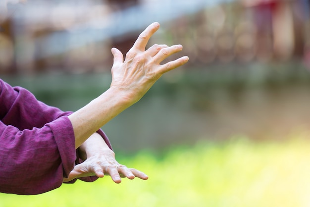 Practice of tai chi chuan in outdoor
