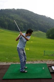 Practicing golf, human, sport