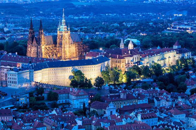 Prague, blue hour view of prague castle and saint vitus cathedral in czech republic