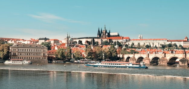 Prague on a bright day, toned image