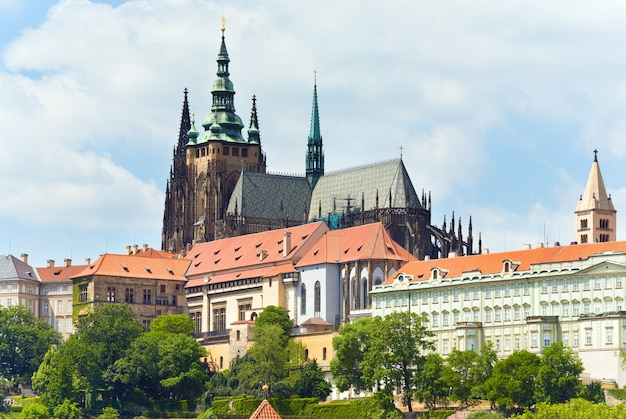 Prague castle, residence of the bohemian princes and kings, and st vitus cathedral. czech republic.