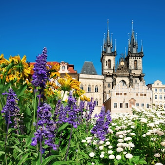 Prague, church of mary before tyn in flowers