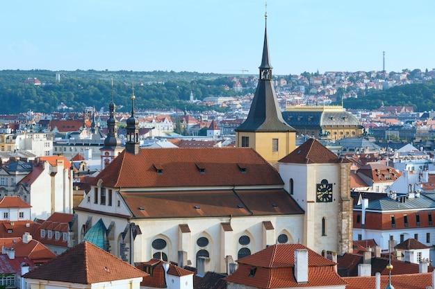 Prague city evening top view (czech republic).