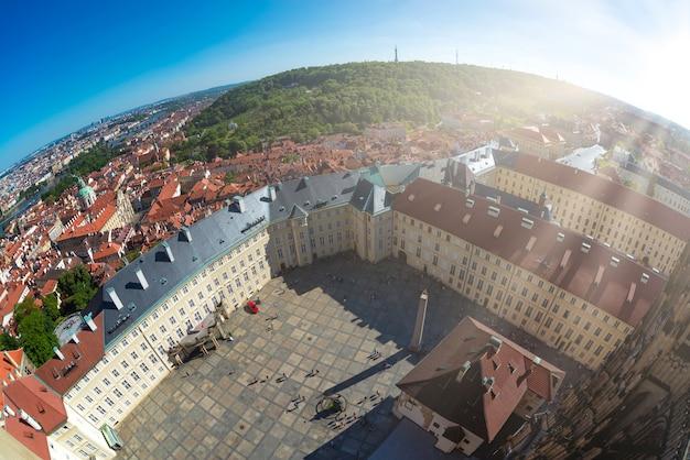 Prague cityscape as seen from saint vitus cathedral. czech republic