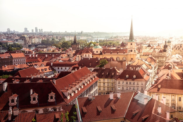 Prague cityscape. view of old town and st. thomas church. czech republic.