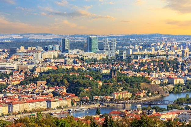 Prague old town and business district, aerial view.