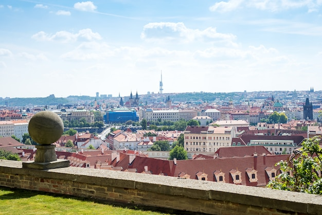 Prague praha old town view at historical center from the hill.