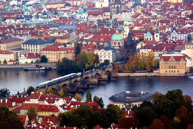Praha bridge over the river