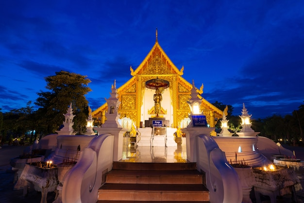 Prasing temple on twilight time at chiang mai , thailand