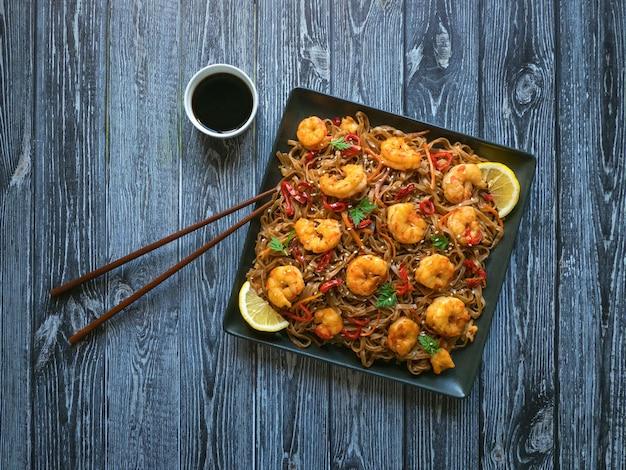Prawn schezwan noodles with vegetables