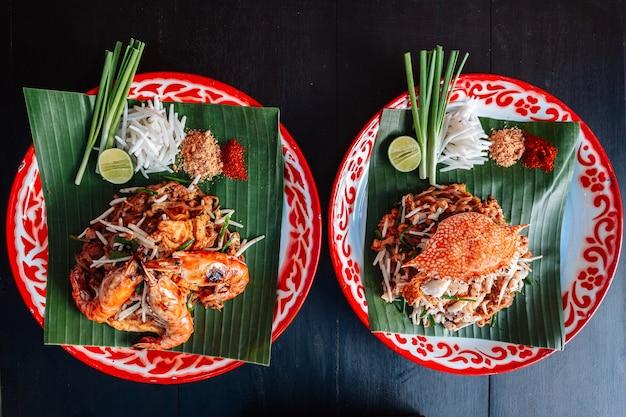 Prawn or shrimp and crab pad thai.
