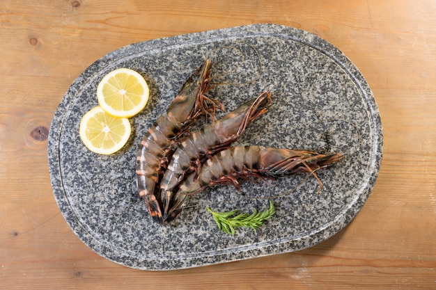 Prawns presented on a granite tray