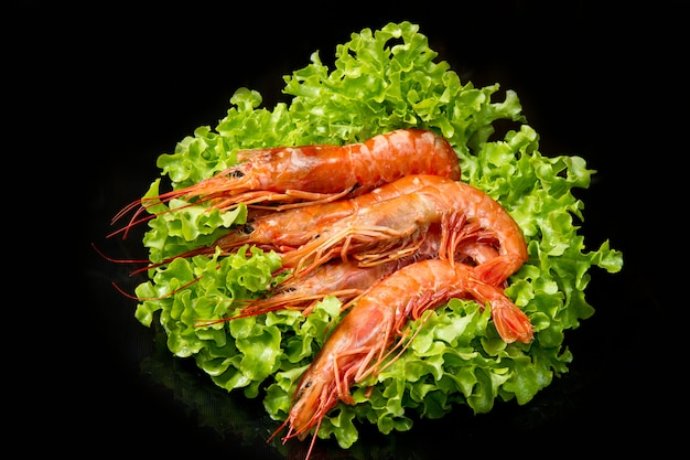 Prawns with fresh salad