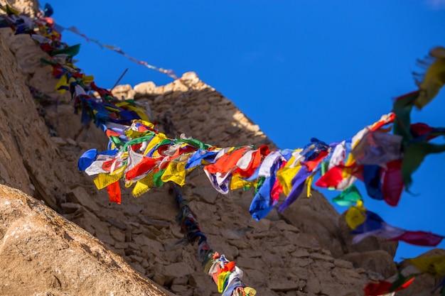 Prayer flag in monastery at leh